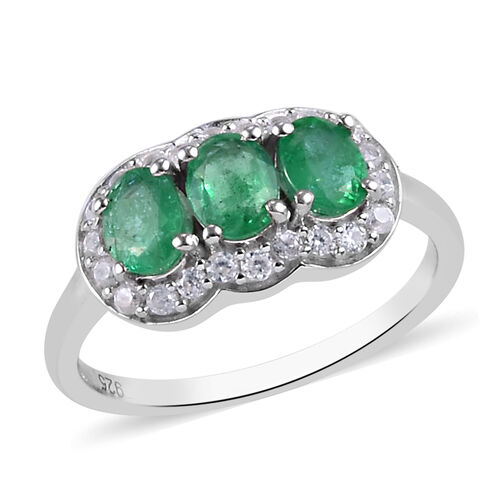 Premium Kagem Zambian Emerald and Natural Cambodian Zircon Ring in Platinum Overlay Sterling Silver