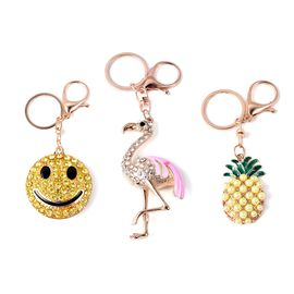 Set of 3 - Multicolour Austrian Crystal and Simulated Pearl Smiley, Flamingo and Pineapple Enamelled