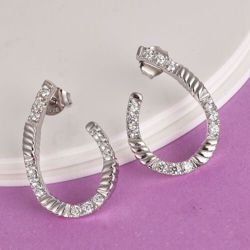 J Francis - Platinum Overlay Sterling Silver Earrings (with Push Back) Made with SWAROVSKI ZIRCONIA