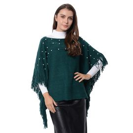 Simulated Pearl Poncho with Tassels (Free Size) Dark Green Colour