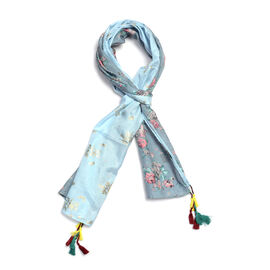 85% Cotton 15% Silk Sky Blue, Gold and Grey Colour Flower Pattern Scarf with Tassels (Free Size)