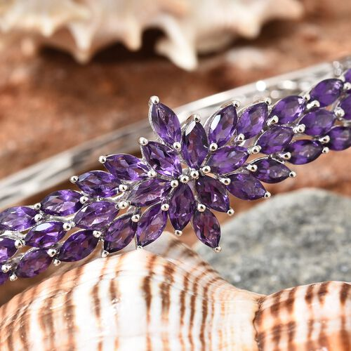 Amethyst (Mrq) Bangle (Size 7.5) in Platinum Overlay Sterling Silver 10.000 Ct., Silver wt 21.52 Gms.