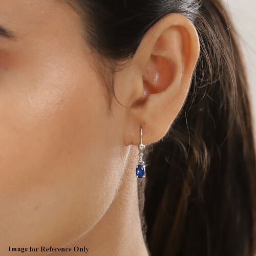 Tanzanian Blue Spinel Solitaire Lever Back Earrings in Platinum Overlay Sterling Silver 1.000  Ct.