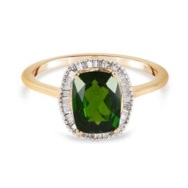 Russian Diopside and Diamond Ring in 14K Gold Overlay Sterling Silver 1.49 Ct.