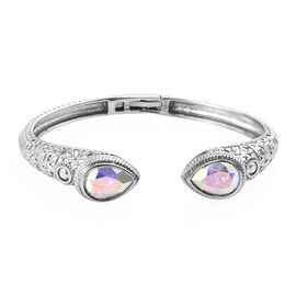 One Time Deal- J Francis Crystal from Swarovski - Swarovski AB Crystal (Pear) Bangle (Size 7.5) in Stainless Steel