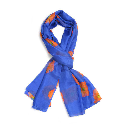 TJC Poppy Collection - 100% Mulberry Silk Orange Poppy Flower Pattern Blue Colour Scarf (Size 180X100 Cm)