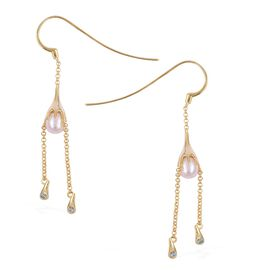 LucyQ - Pearl Couture Collection- Fresh Water White Pearl (Pear 9x7mm), Swiss Blue Topaz Drop Hook Earrings in Yellow Gold Overlay Sterling Silver