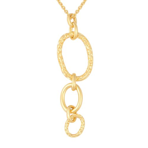 RACHEL GALLEY Ocean Link Long Drop Pendant With Chain in Gold Plated Silver 12.32 Grams