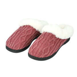 Knitted Slippers with Faux Fur - Burgundy