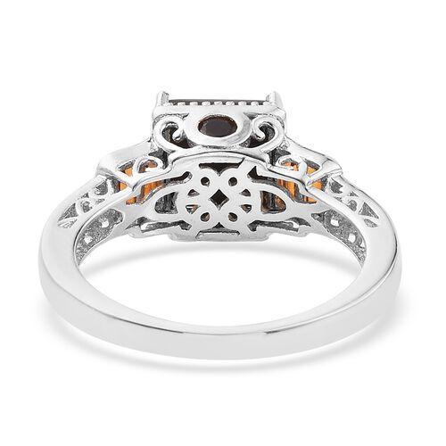 AA Canadian Ammolite (Sqr 8mm), Madeira Citrine and Natural Cambodian Zircon Ring in Platinum Overlay Sterling Silver 2.750 Ct.