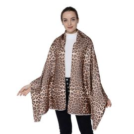 Double-Sided Leopard Print and Solid Colour Scarf (Size 65x185cm) - Beige