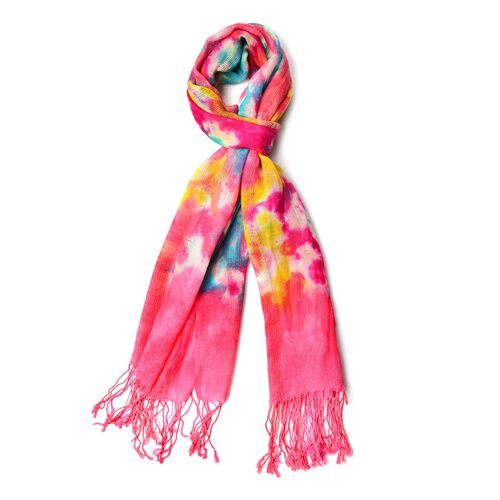 100% Wool Pink, Yellow and Multi Colour Scarf with Tassels (Size 190X65 Cm)