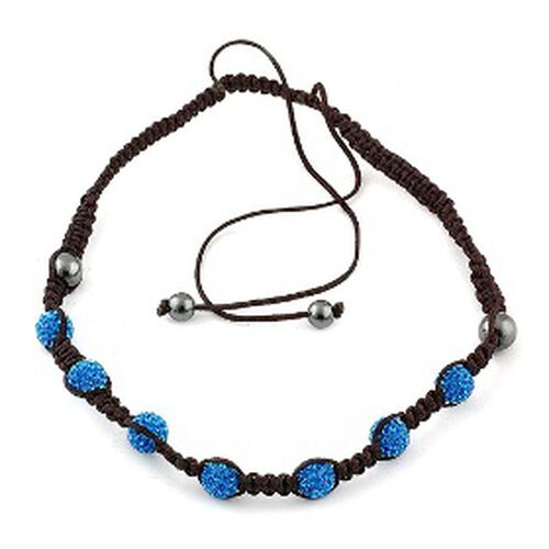 Blue Austrian Crystal and Hematite Adjustable Necklace