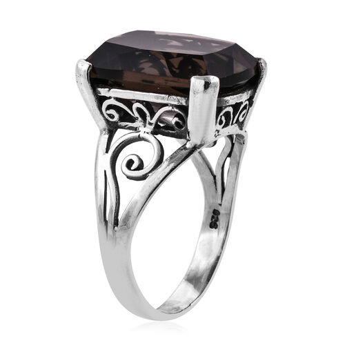 Royal Bali Collection Brazilian Smoky Quartz (Cush 18x14 mm) Solitaire Ring in Sterling Silver 13.700 Ct.