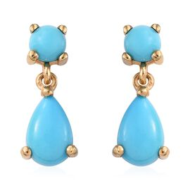 SLEEPING BEAUTY TURQUOISE (1.95 Ct) 14K Gold Overlay Sterling Silver Earring  2.000  Ct.