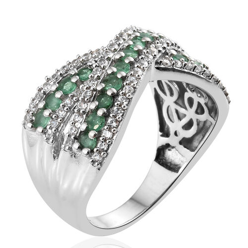 AA Kagem Zambian Emerald (Rnd), Natural Cambodian Zircon Criss Cross Ring in Platinum Overlay Sterling Silver 1.500 Ct. Silver wt 6.07 Gms.