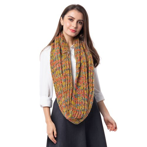 Yellow and Multi Colour Infinity Scarf (Size 71x35 Cm)