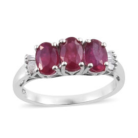 African Ruby (Ovl 6x4 mm), Diamond Ring in Platinum Overlay Sterling Silver 2.150 Ct.