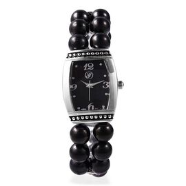 GENOA Japanese Movement Shungite (Rnd), White Austrian Crystal Water Resistant Bracelet Watch 193.90