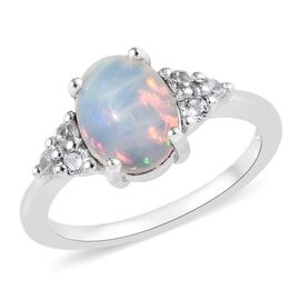 1.35 Ct Ethiopian Welo Opal and Zircon Solitaire Design Ring in Platinum Plated Sterling Silver