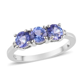 Tanzanite and Diamond Trilogy Ring in Platinum Plated Sterling Silver 1.05 Ct