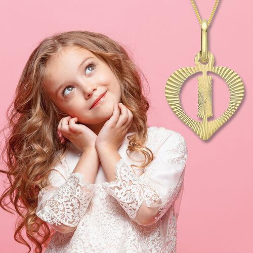 Children Diamond Cut I Initial Heart Pendant in 9K Yellow Gold