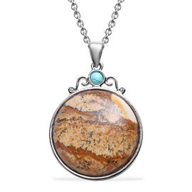 Picture Jasper and Blue Howlite Pendant With Chain (Size 24) in Stainless Steel
