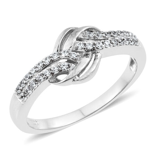 J Francis - Platinum Overlay Sterling Silver (Rnd) Knot Ring Made with SWAROVSKI ZIRCONIA