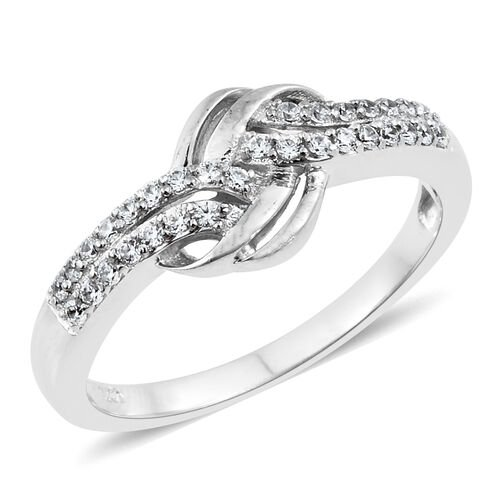 J Francis - Platinum Overlay Sterling Silver (Rnd) Knot Ring Made with SWAROVSKI ZIRCONIA