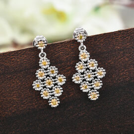 GP Italian Garden Collection- Yellow Diamond and Kanchanaburi Blue Sapphire Earrings (with Push Back) in Platinum Overlay Sterling Silver