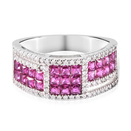 Lustro Stella - Simulated Ruby and Simulated Diamond Ring in Platinum Overlay Sterling Silver
