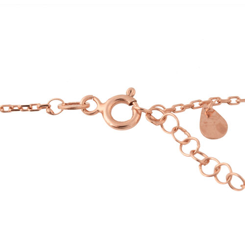 Rose Gold Overlay Sterling Silver Necklace (Size 17.5 with 2 inch Extender)