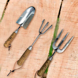 Jardin de France Set of Three Gardening Tools in Stainless Steel