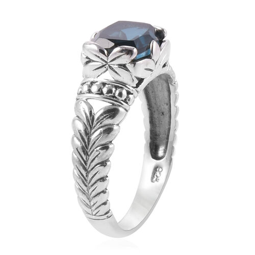 Royal Bali Collection Teal Quartz (Cush) Floral Ring in Sterling Silver 2.340 Ct.