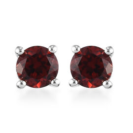 Mozambique Garnet Stud Earrings (with Push Back) in Platinum Overlay Sterling Silver 1.50 Ct.