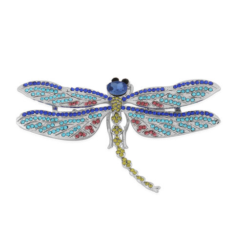 Simulated Blue Sapphire and Multi Colour Austrian Crystal Dragonfly Brooch