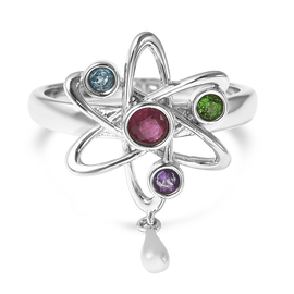 LucyQ Constellation Collection - African Ruby (FF), London Blue Topaz, Russian Diopside and Amethyst