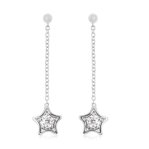 LucyQ Star Collection - Moissanite Dangle Earrings (with Push Back) in Rhodium Overlay Sterling Silv
