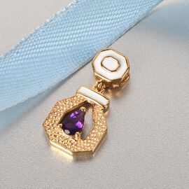 GP Art Deco Collection - Amethyst and Kanchanaburi Blue Sapphire Enamelled Pendant in 14K Gold Overlay Sterling Silver