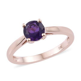9K Rose Gold AAA Amethyst (Rnd) Solitaire Ring 0.650 Ct.