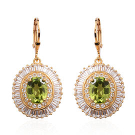 10.10 Ct Hebei Peridot and Topaz Lever Back Earrings in Gold Plated Silver