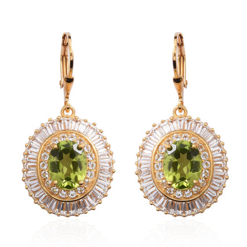Hebei Peridot (Ovl), White Topaz Lever Back Earrings in Yellow Gold Overlay Sterling Silver 10.100 Ct.
