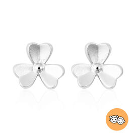 RACHEL GALLEY - Rhodium Overlay Sterling Silver 3-Leaf Flower Stud Earrings (with Push Back)