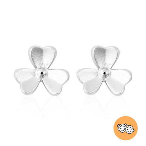 RACHEL GALLEY - Rhodium Overlay Sterling Silver 3-Leaf Flower Stud Earrings (with Push Back)