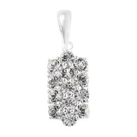 J Francis - Crystal from Swarovski White Colour Crystal (Rnd) Pendant in Sterling Silver