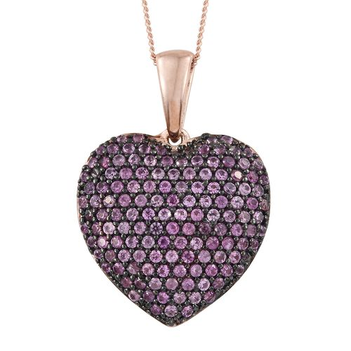 Pink Sapphire (Rnd) Heart Ring, Pendant with Chain and Earrings in Rose Gold Overlay Sterling Silver 8.000 Ct. Silver wt. 8.94 Gms. Number of Gemstones 436