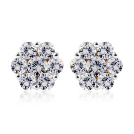 9K Yellow Gold Pressure Set SGL Certified Diamond (Rnd) (I3/G-H) Floral Stud Earrings (with Push Bac