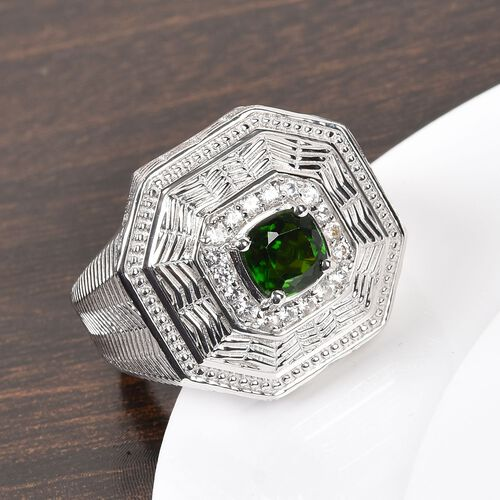 Russian Diopside and Natural Cambodian Zircon Ring in Platinum Overlay Sterling Silver 1.50 Ct, Silver wt 11.00 Gms