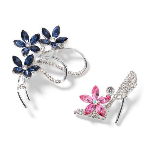 Set of 2 White Austrian Crystal (Rnd), Simulated Blue Sapphire and Simulated Rhodolite Garnet High-Heel and Bouquet Brooch
