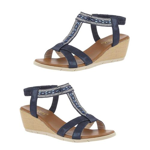 Lotus Bindi Wedge Sandals (Size 4) - Navy